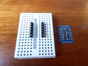 header pins on a breadboard